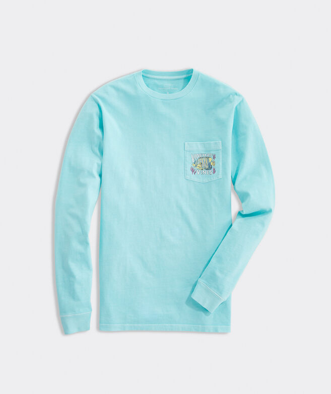 Garment Dyed Tropical Fish Long-Sleeve Pocket Tee