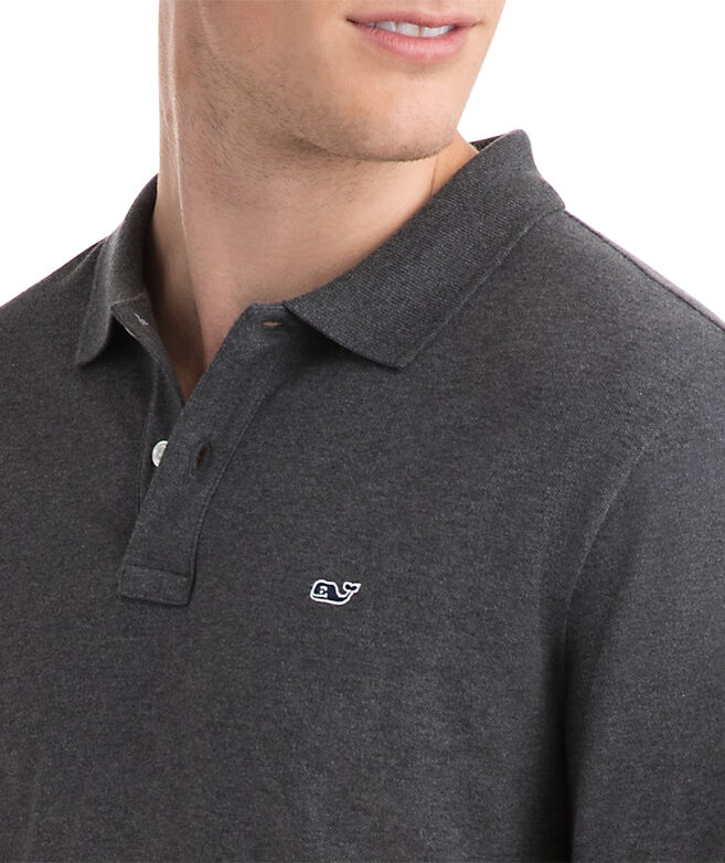 Long-Sleeve Stretch Heather Pique Polo