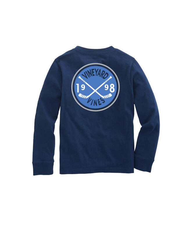 Boys Hockey Crest Long-Sleeve Pocket Tee