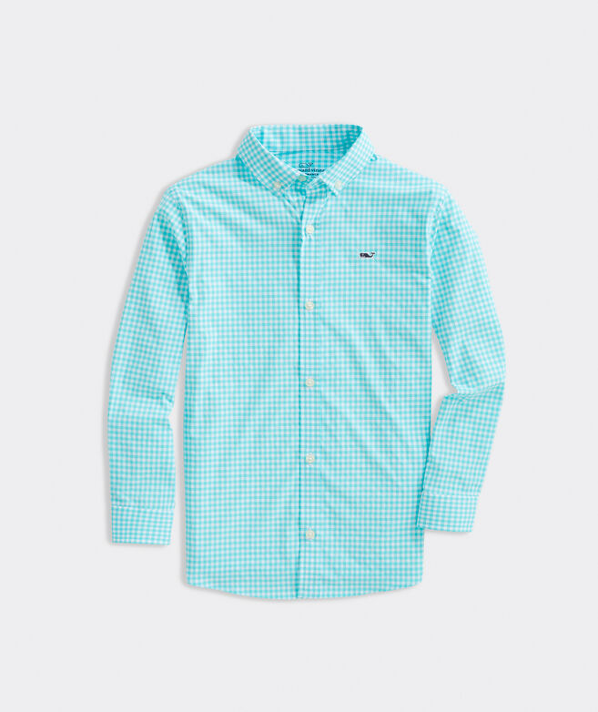 Boys' Classic Fit Gingham On-The-Go Shirt in Performance Nylon