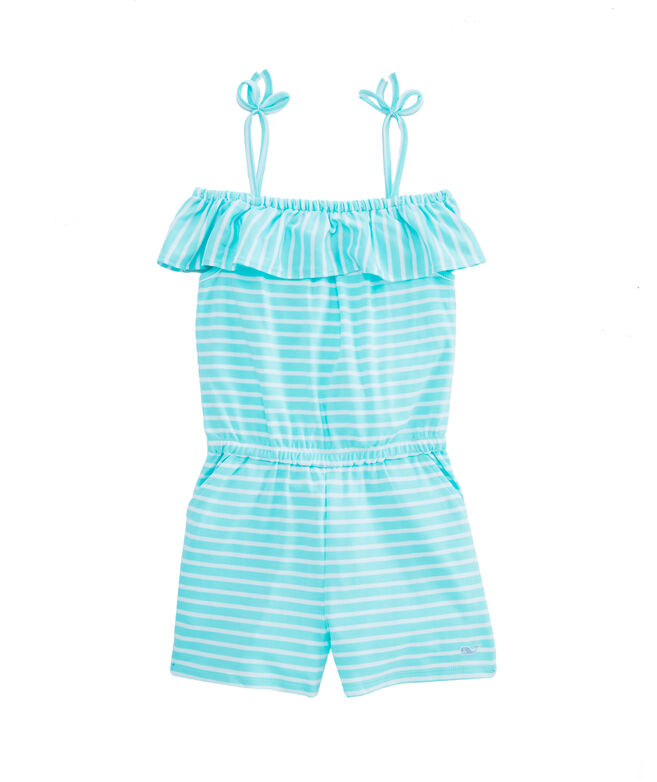 Girls Simple Stripe Knit Romper