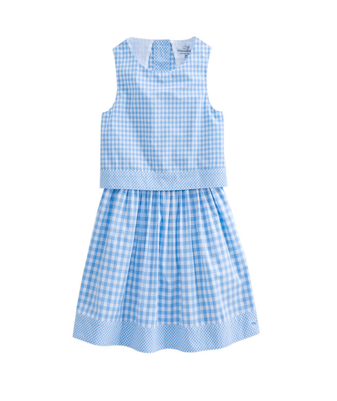 Girls Gingham Mix Dress