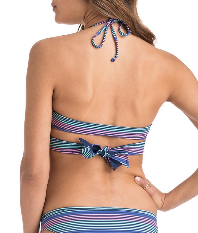 Multi Stripe Cross Over Reversible Bikini Top