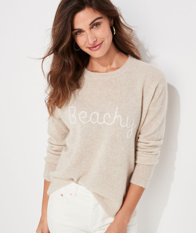Lofty Cashmere Beachy Embroidered Sweater