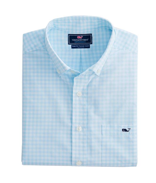Walkaround Gingham Performance Slim Tucker Shirt
