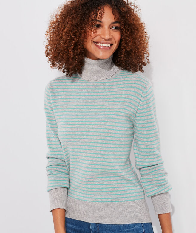 Striped Cashmere Turtleneck