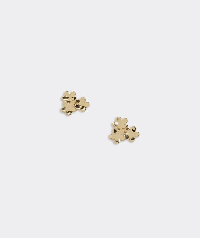 Gold Flower Bouquet Stud Earrings