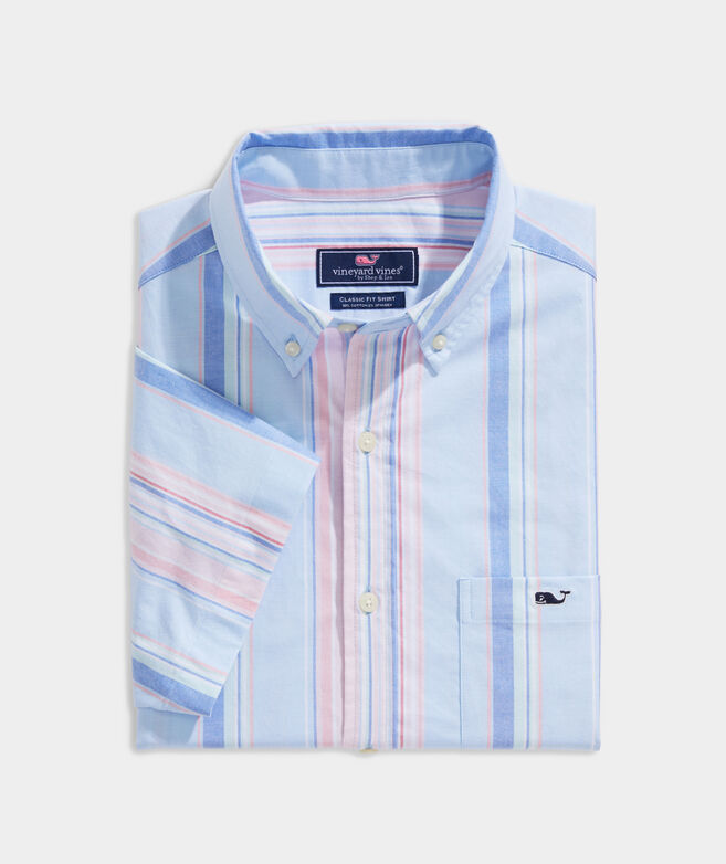 Stretch Cotton Short-Sleeve Awning Stripe Shirt