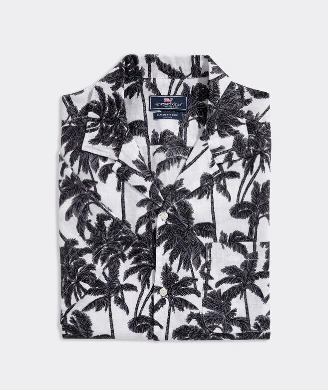 Classic Fit Bahia Palm Short-Sleeve Cabana Shirt in Linen