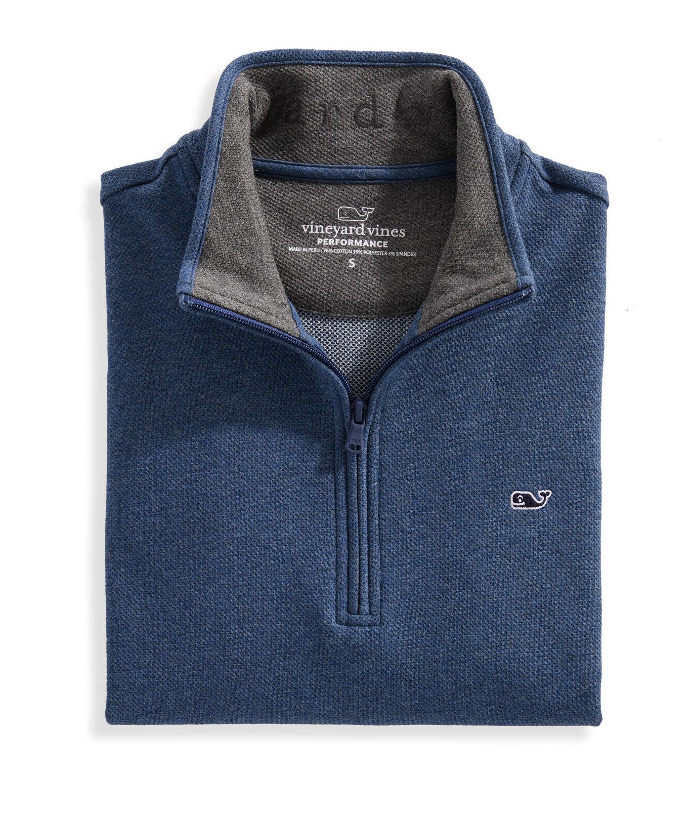 Vineyard Vines Men/'s Sweater Fleece 1//2 Zip Pullover Deep Bay Blue Shep Shirt