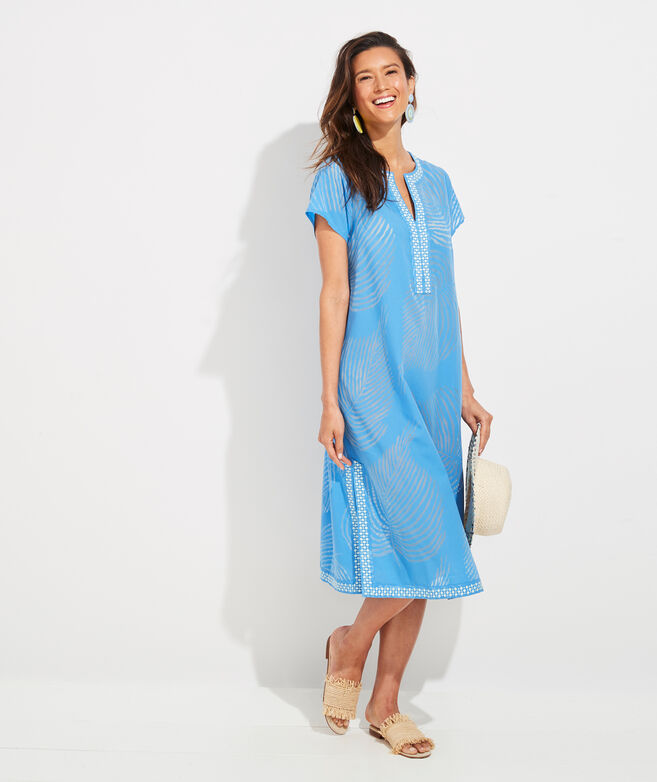 Palm Frond Burnout Tunic Cover-Up