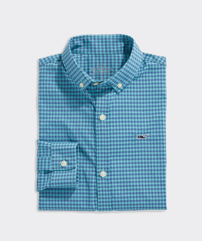 Boys' Alicetown Gingham On-The-Go Performance Whale Shirt