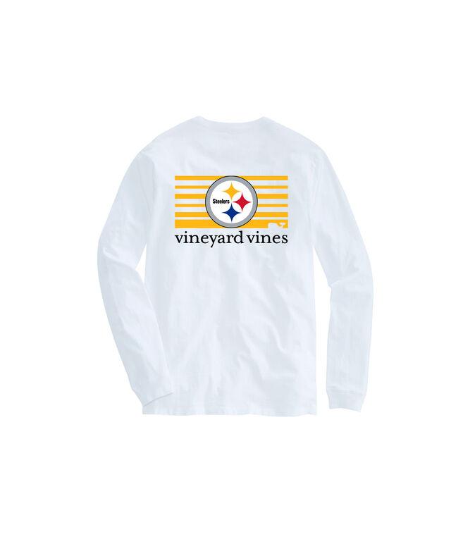 Adult Steelers Long-Sleeve Block Stripe T-Shirt