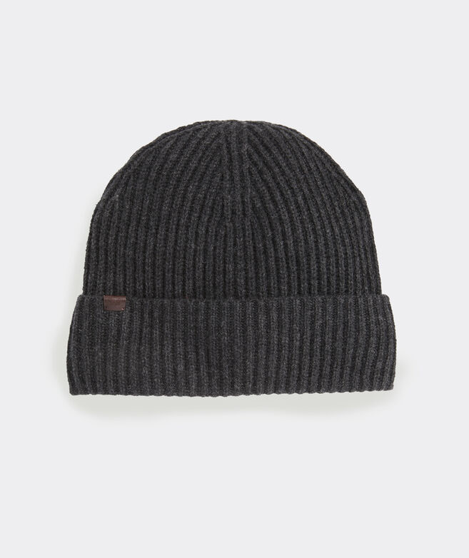 Cashmere Blend Rib Knit Cuff Hat
