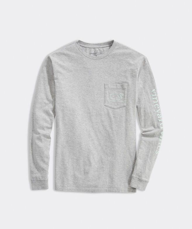 Adult Glow-In-The-Dark Vintage Whale Long-Sleeve Pocket Tee