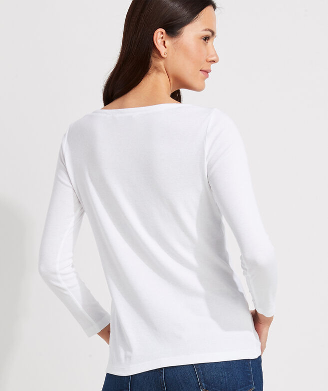 Simple Boatneck Long-Sleeve Tee