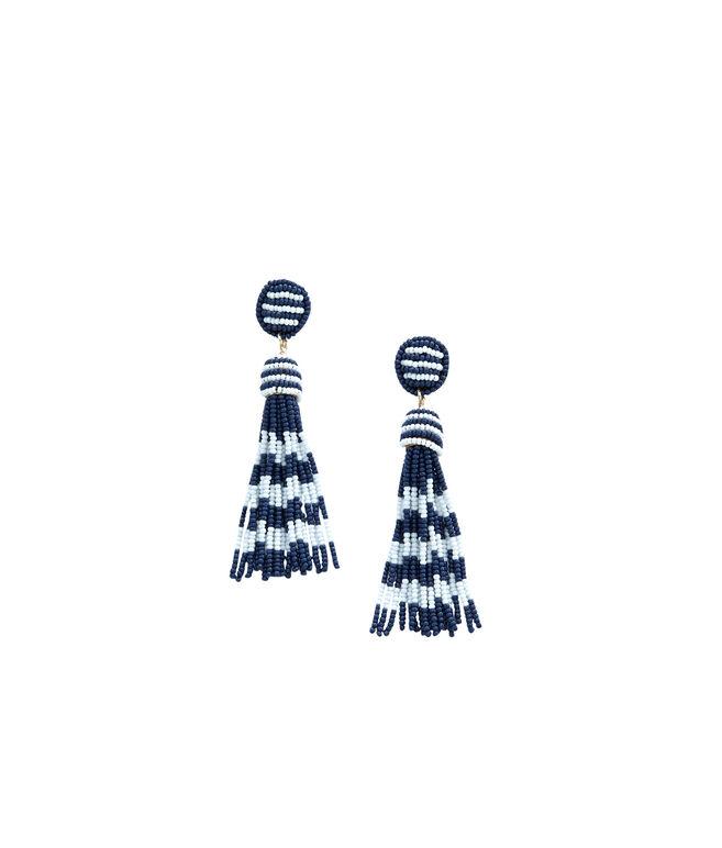 Beaded Stripe Tassel Earrings