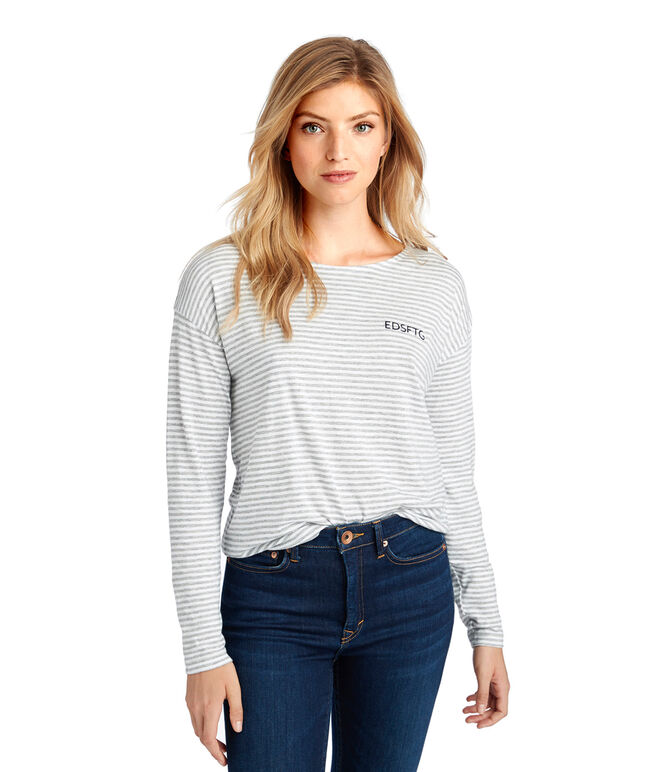 Long-Sleeve EDSFTG Embroidered Stripe Tee