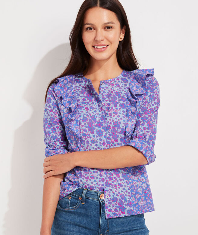 Floral Print Ruffle Button-Front Top