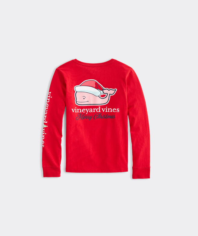 Girls' Santa Whale Long-Sleeve Pocket Tee