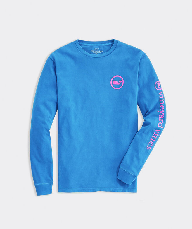 Garment-Dyed Full-Bloom Fill Whale Dot Long-Sleeve Tee