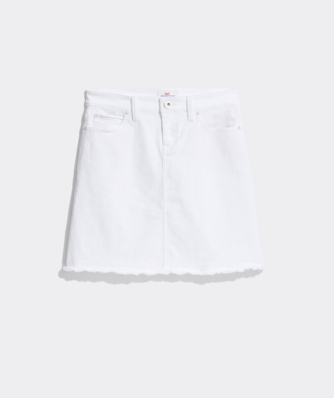 Raw Hem White Jean Skirt