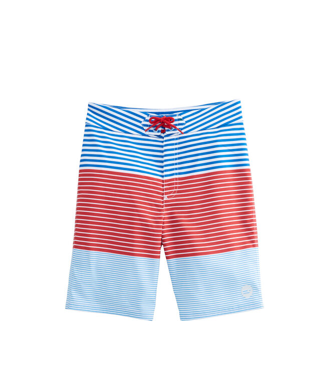 Boys Whale Harbor Stripe Board Shorts