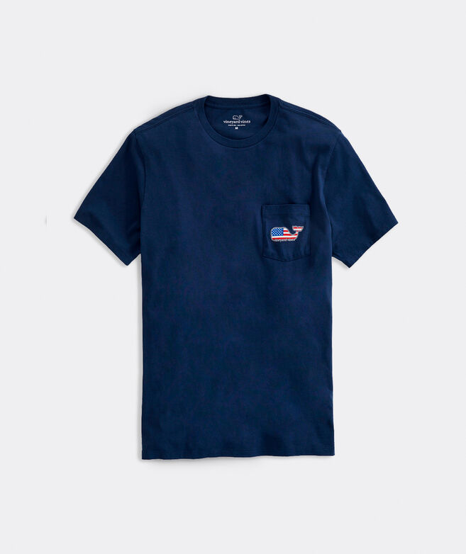 Big & Tall V V Americana Whale Short-Sleeve Pocket Tee