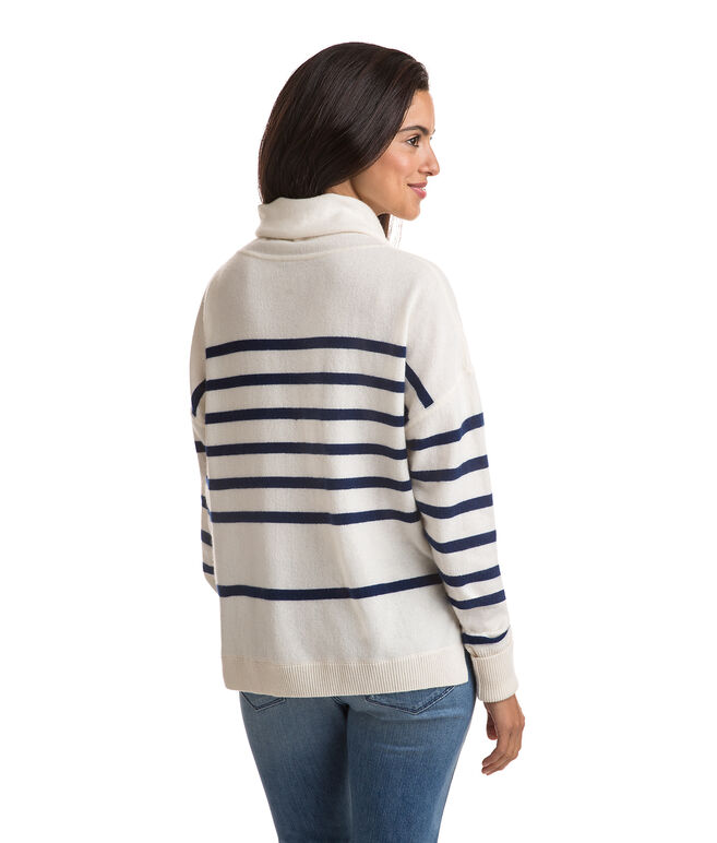 Cashmere Striped Roll Neck Sweater