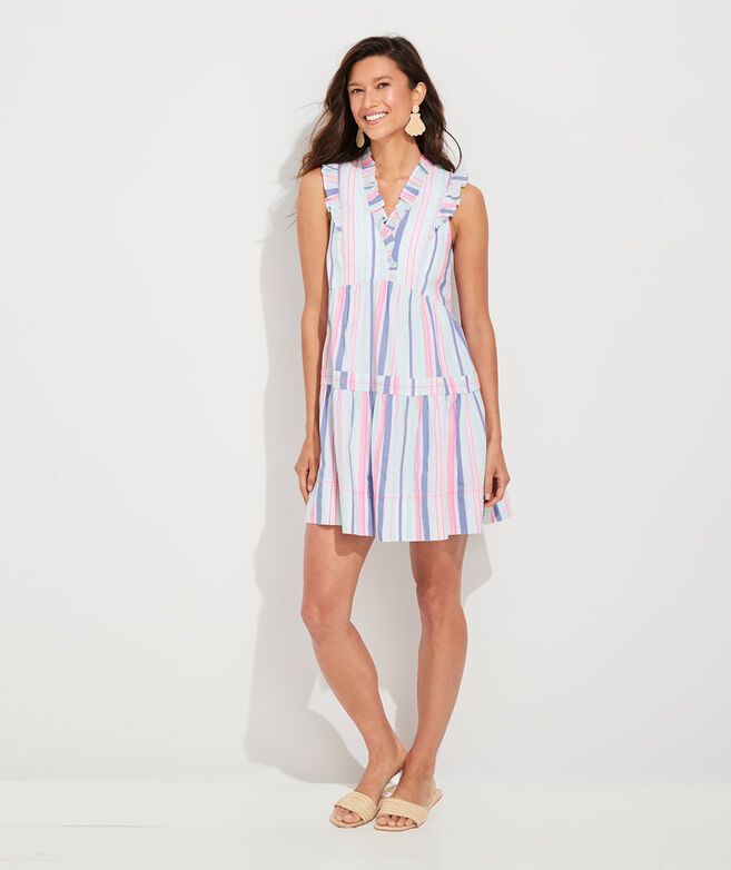 Boca Grande Stripe Tiered Ruffle Dress