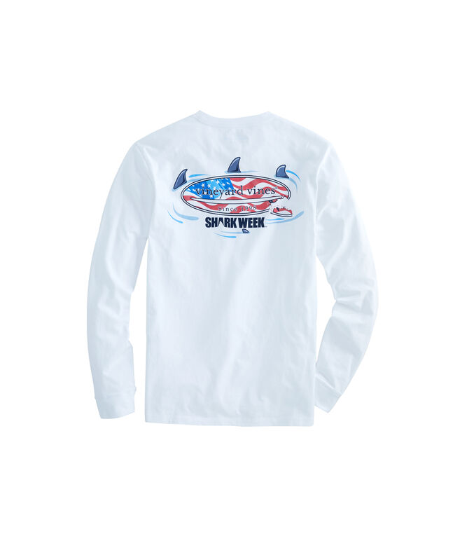 Big & Tall Shark Week Circling Flag Surfboard Long-Sleeve Pocket Tee