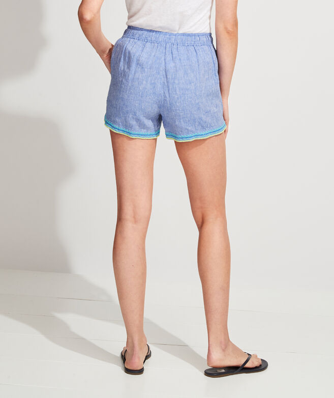 Linen Cross-Dyed Embroidered Pull-On Shorts