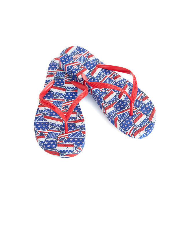 Whaley USA Printed Flip Flops