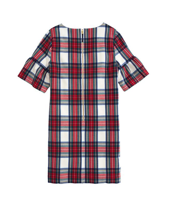 OUTLET Women's Jolly Plaid Flutter Sleeve Dress