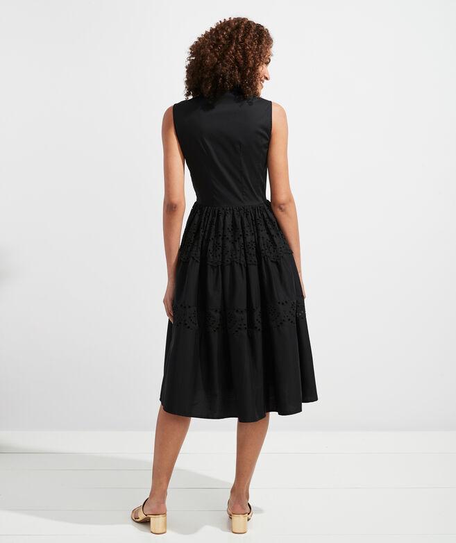 Tiered Eyelet Shirt Dress