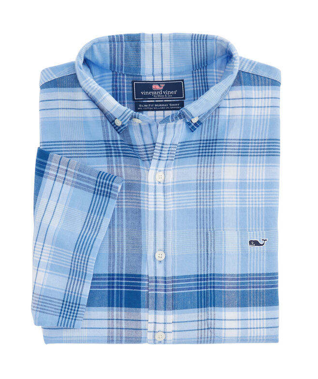 Short-Sleeve Sea Splash Beach Flannel Slim Tucker Shirt
