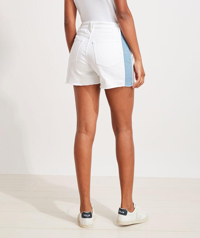 White Denim Side-Stripe Cutoff Shorts