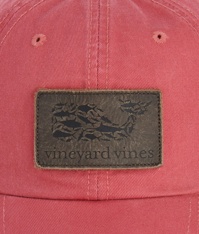 Leather Whale Fill Logo Patch Twill Baseball Hat