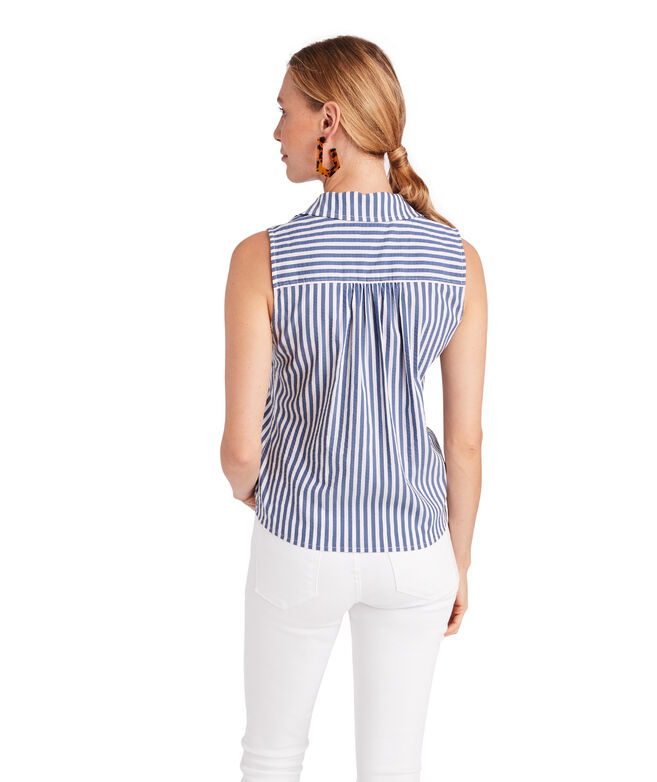 Shore Seersucker Sleeveless Tie Front Button Down
