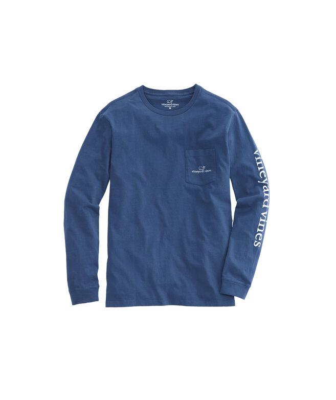 Shop long sleeve vintage whale logo pocket t shirt at for Whale emblem on shirt