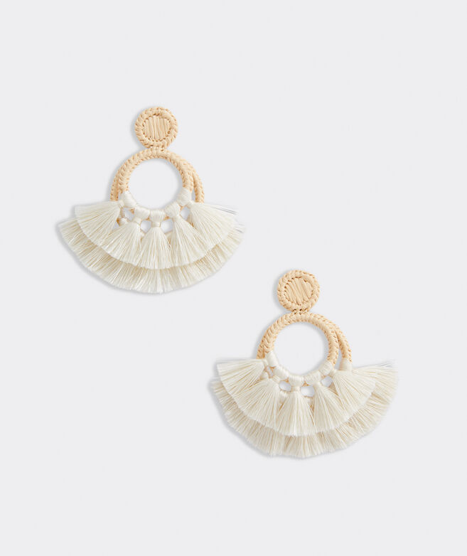 Raffia Tassel Hoop Earrings