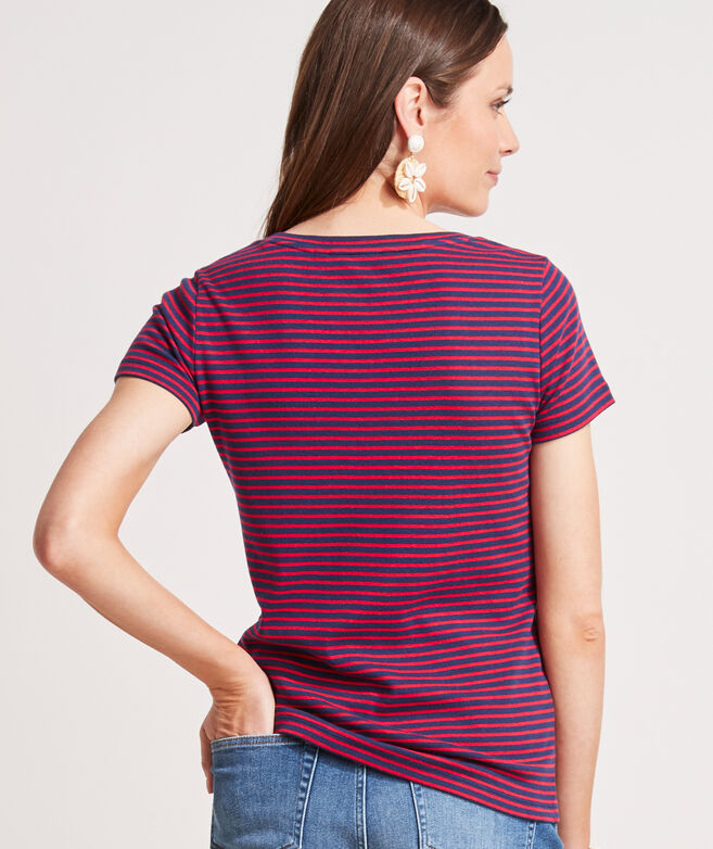 Striped V-Neck Short-Sleeve Simple Tee