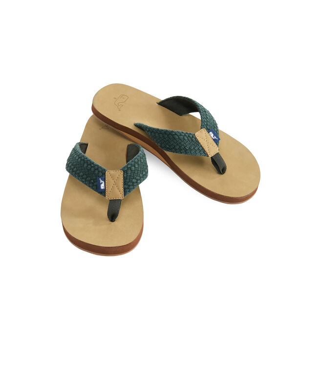 Leather Flip Flops With Washed Webbing.