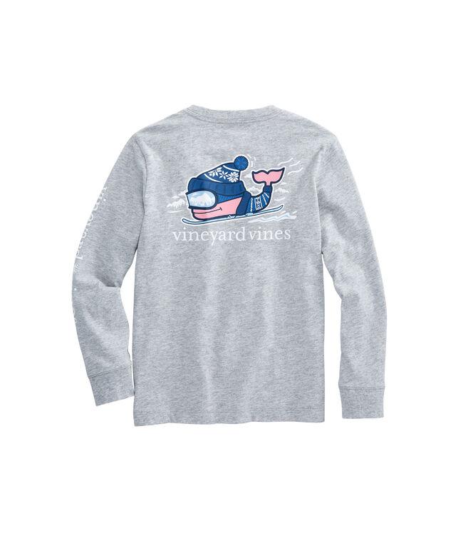 Boys Long-Sleeve Downhill Ski Whale Pocket T-Shirt
