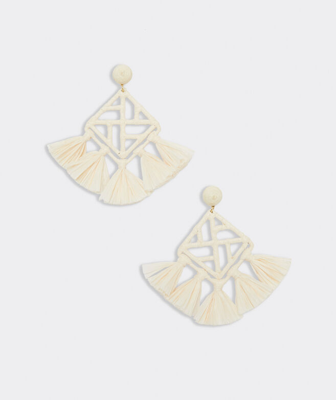Bamboo Lattice Raffia Earrings