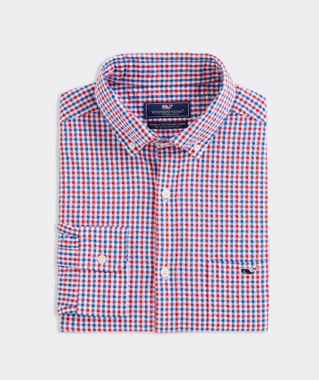 Classic Fit Seersucker Shirt in Stretch Cotton