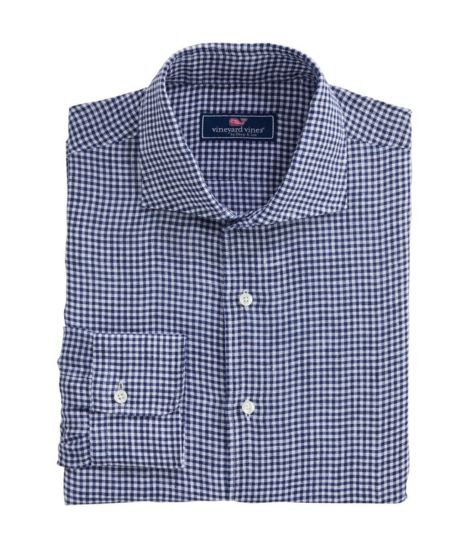 Classic Fit Linen Yarn-Dyed French Placket Greenwich Dress Shirt