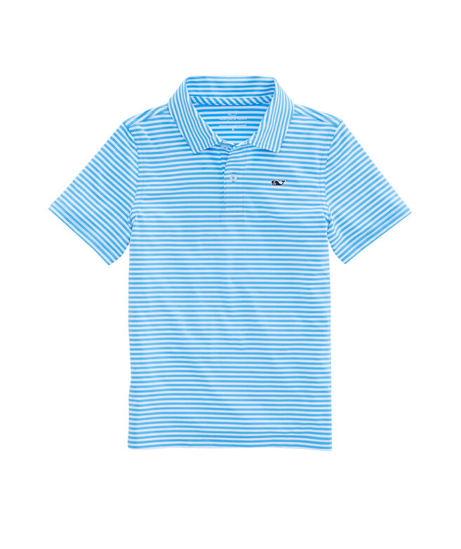 Boys Color To White Feeder Stripe Performance Polo