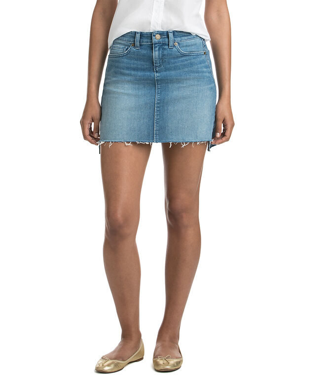 Antigua Wash Hi-Lo Hem Denim Skirt