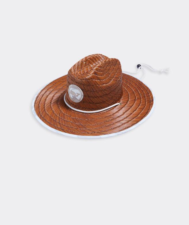 Sea Floor Camo Whale Dot Straw Lifeguard Hat